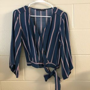 BRAND NEW wrap front tie blouse
